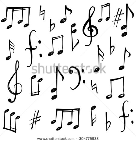 450x470 Music Notes And Signs Set. Hand Drawn Music Symbol Sketch