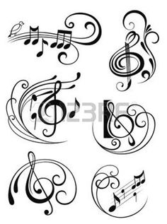 236x317 Notes, Music Staff And Treble Clef Vector Vector Graphics