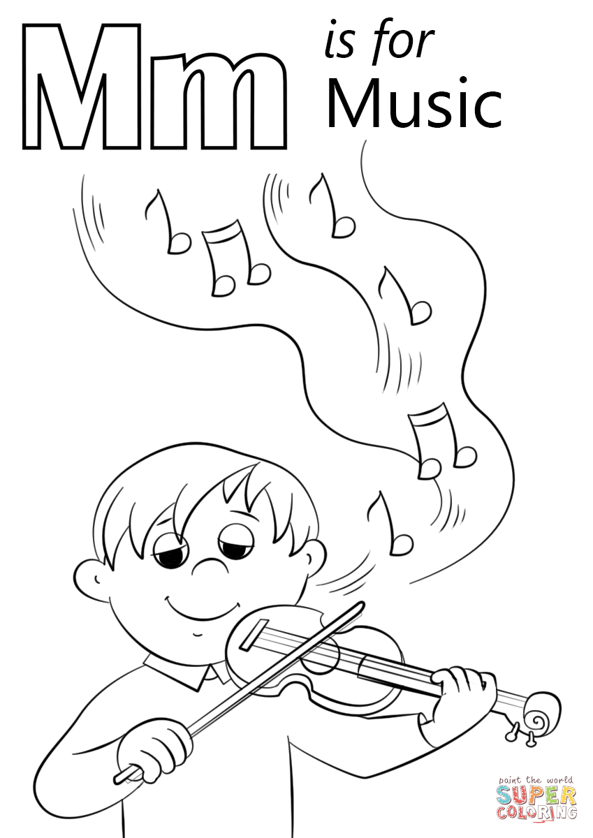 849x1200 Letter M Is For Music Coloring Page Free Printable Coloring Pages