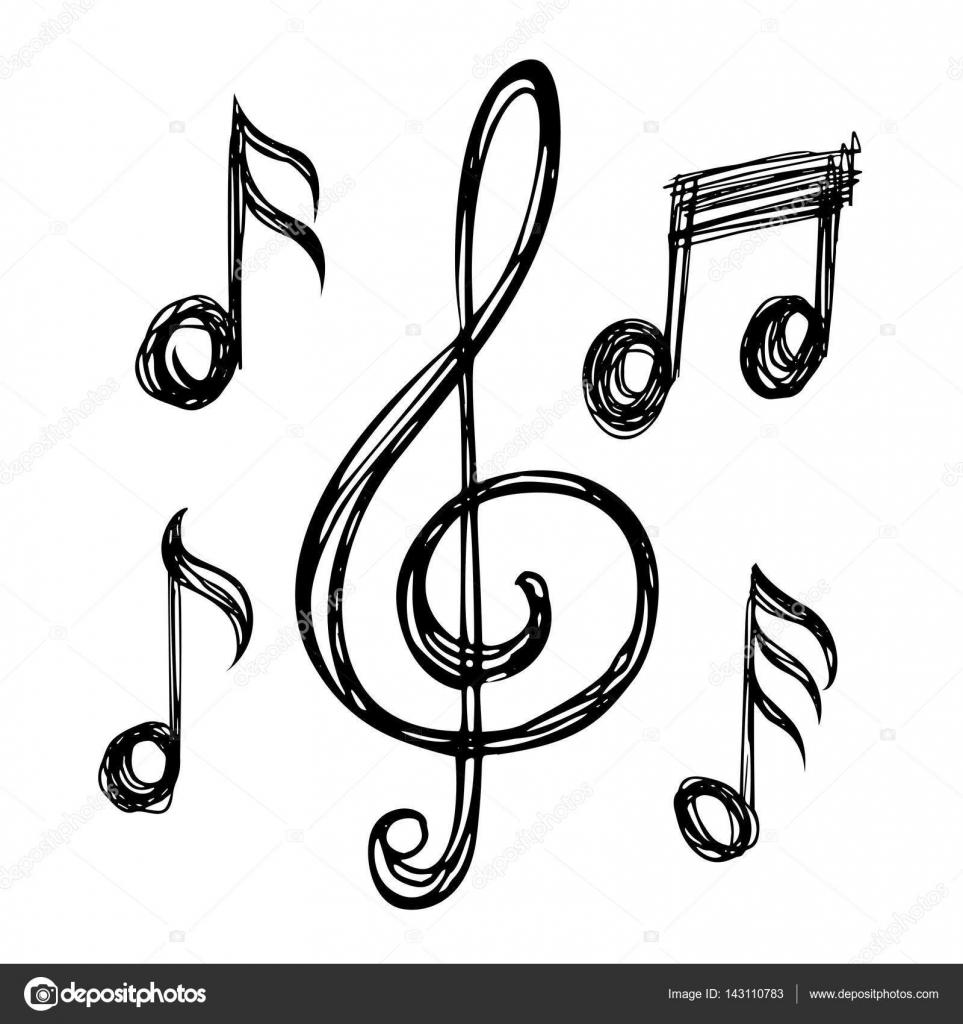963x1024 Music Notes Sketches Stock Vector Alexcosmos