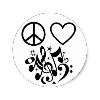 324x324 Peace Love Music Symbols Stickers Zazzle