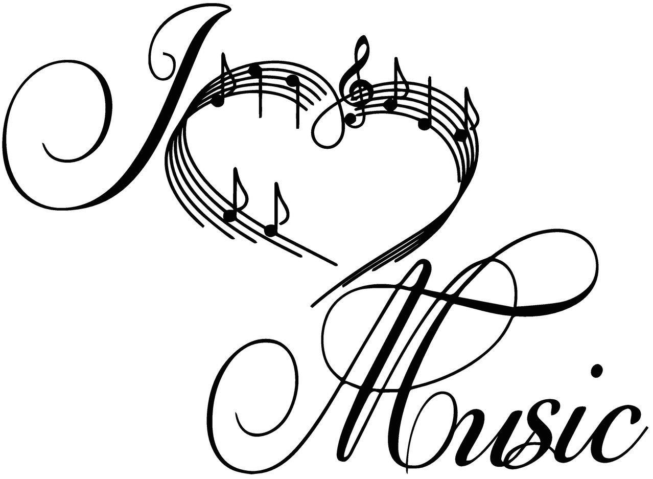 1278x937 Sticker World 4 U W062 I Love Music Heart Notes Symbols Floral
