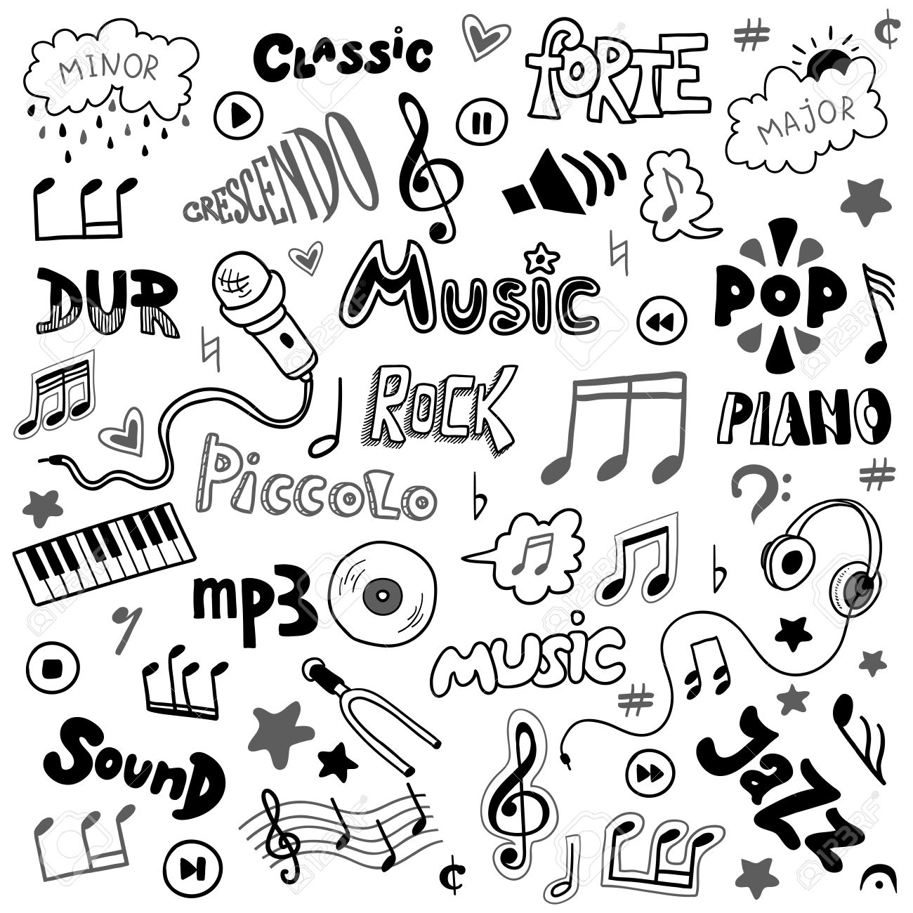 1300x1300 Vector Set Of Hand Drawn Doodles On Music Theme. Colorless Music