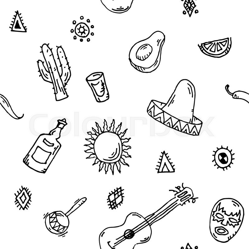 800x800 Hand Drawn Seamless Pattern Vector Set Of Mexican Symbols Guitar
