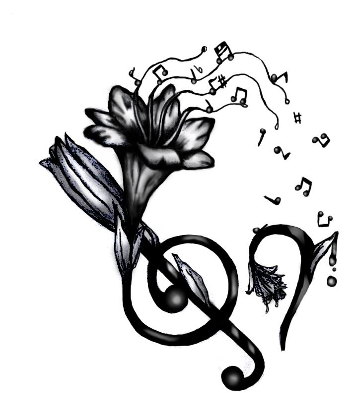 727x847 Add Some Color To This Lily And Music Tattoo And It Would Be