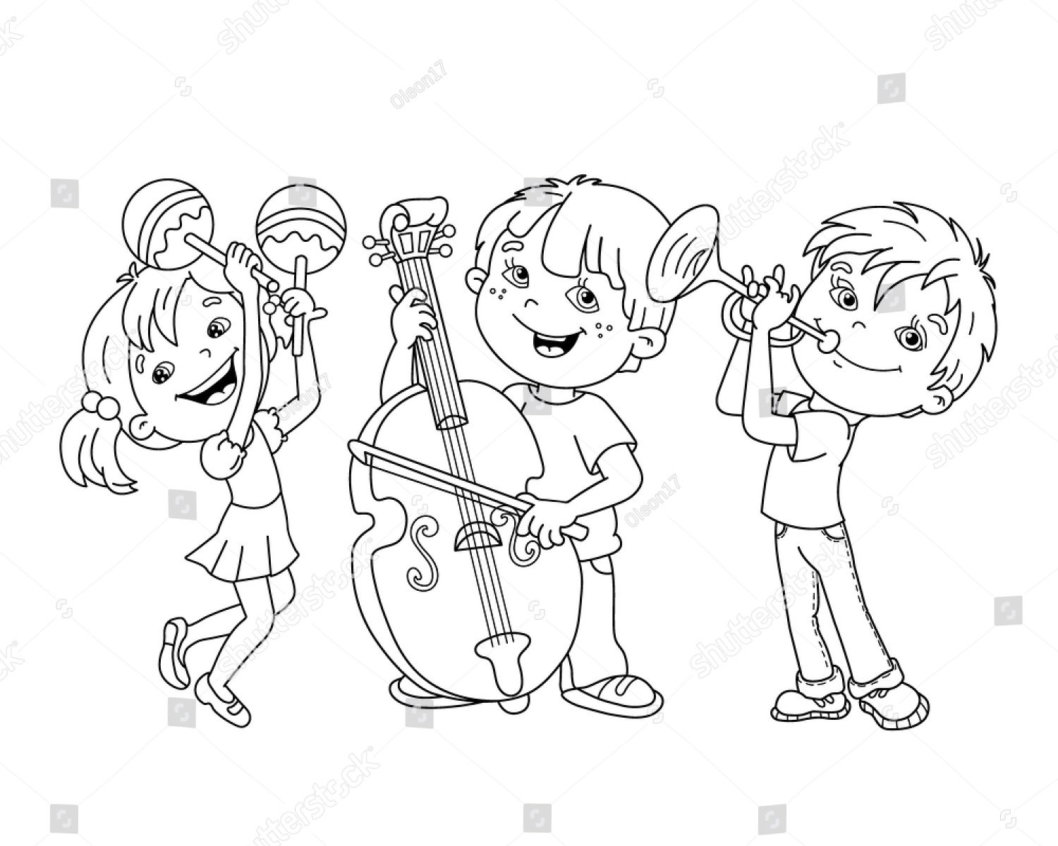 1500x1200 How To Draw Guitar For Kids Drawing Musical Instruments Coloring