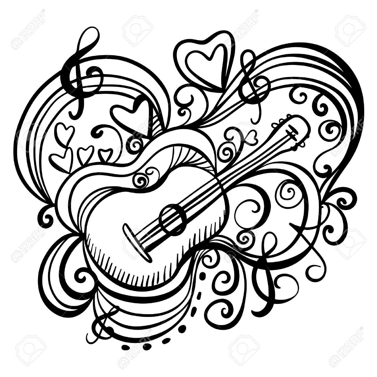 1300x1300 Music Abstract Icon With The Guitar, Hearts, Musical Note, Treble