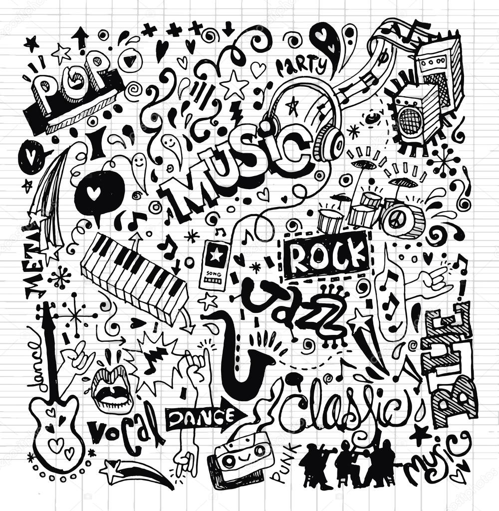 1000x1024 Music Background ,hand Drawing Doodle Stock Vector 9george