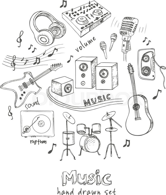 681x800 Abstract Music Background With Musical Instruments. Hand Drawing