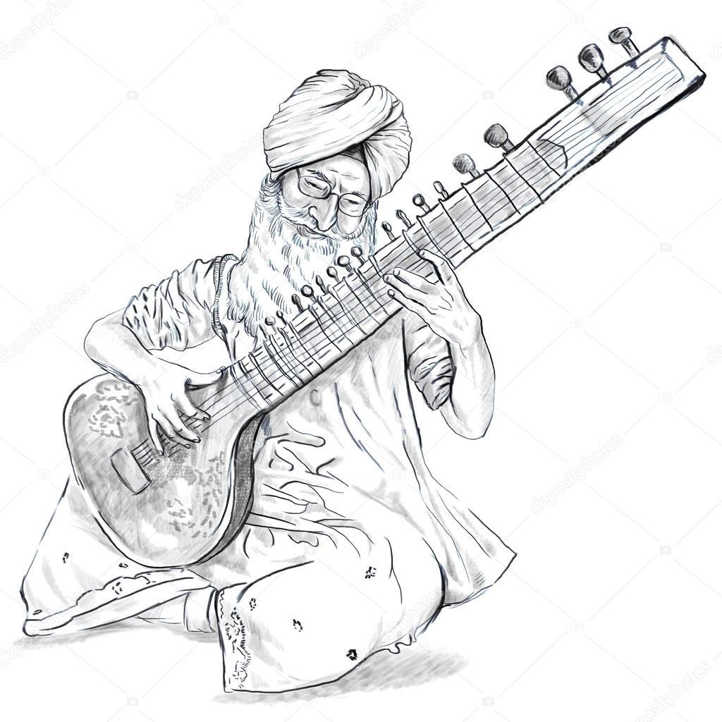 1024x1024 Tanpura Player. Freehand Sketch. Full Sized, Orignal. Stock