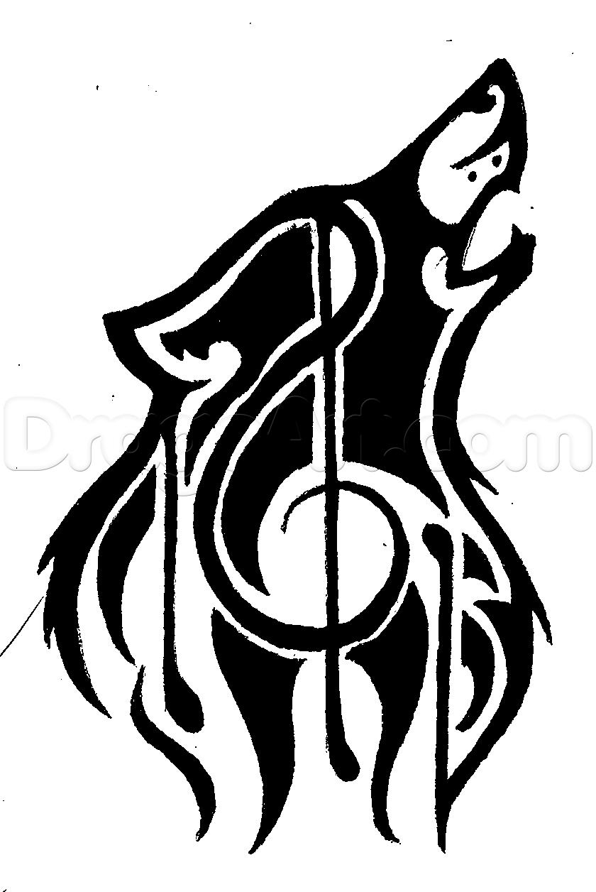 840x1256 Tribal Wolf Drawing How To Draw Musical Tribal Wolf, Stepstep