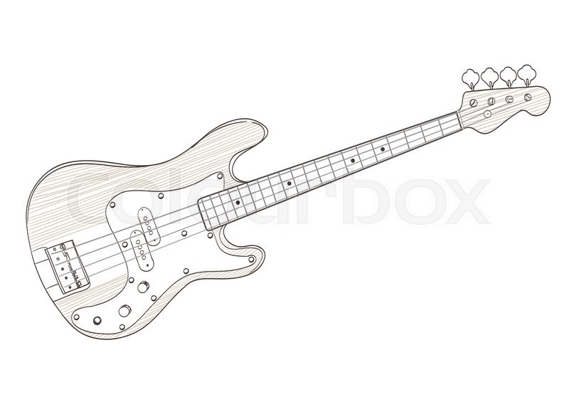 800x554 Bass Guitar Drawing On White. Vector Stock Vector Colourbox