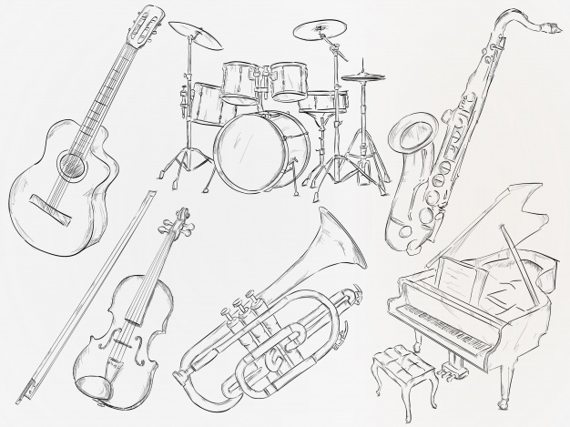 626x469 Hand Drawn Musical Instrument Vector Free Download