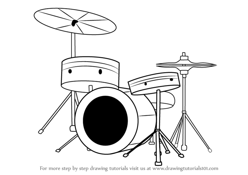 800x565 Learn How To Draw Drums (Musical Instruments) Step By Step