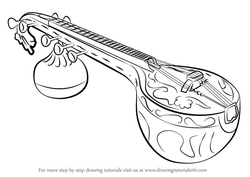 800x567 Learn How To Draw A Veena (Musical Instruments) Step By Step
