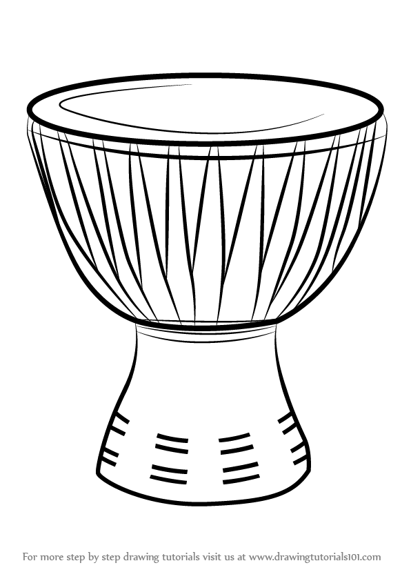 596x842 Learn How To Draw An African Drum (Musical Instruments) Step By