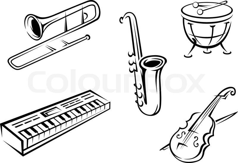 800x549 Musical Instruments Set Stock Vector Colourbox