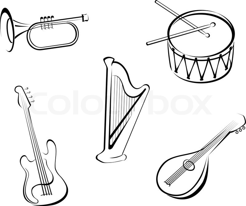 800x673 Set Of String Musical Instruments For Music Design Stock Vector