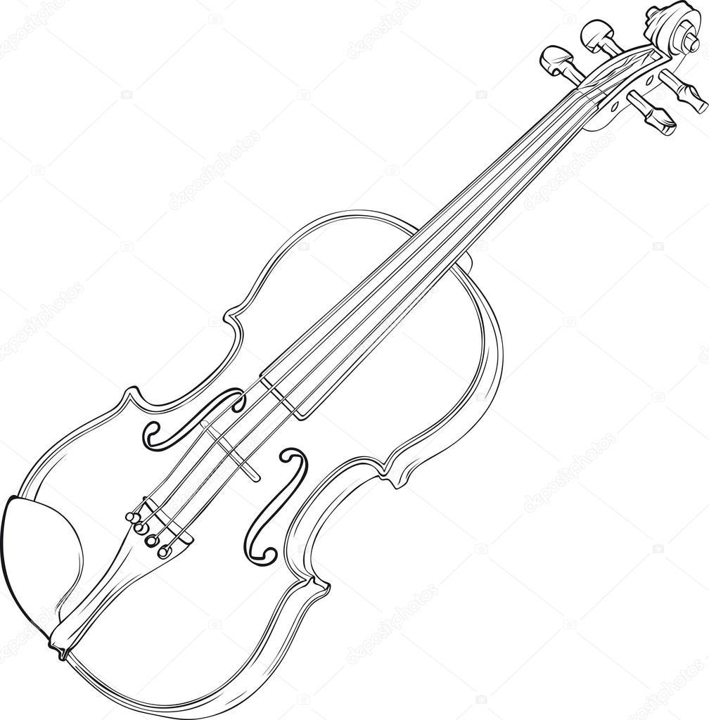 1008x1024 Violin Drawing Stock Vector Suljo