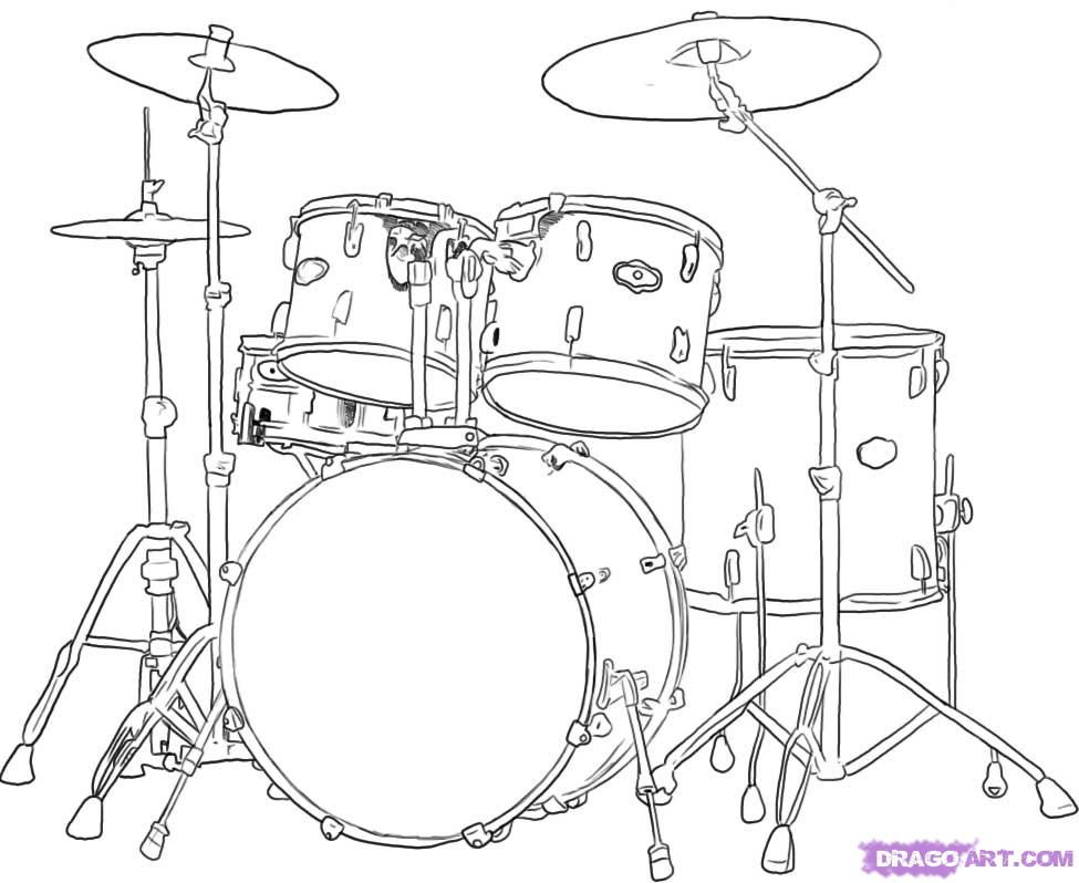 975x798 How to draw a drum set, cool. Drums Pinterest Drum sets