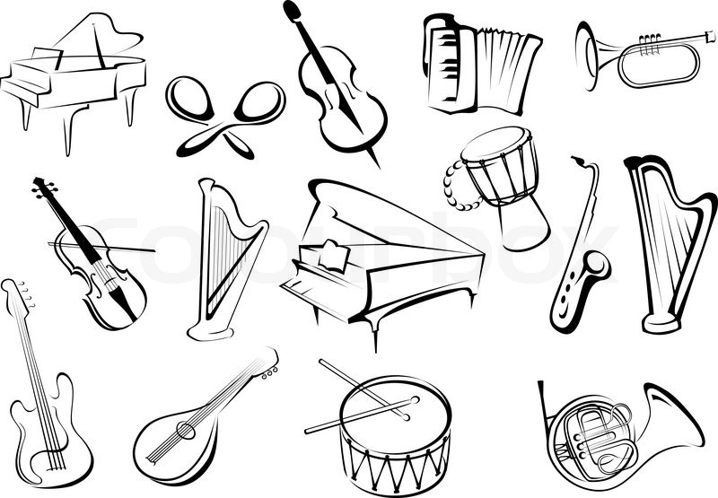 800x555 Large Set Of Musical Instruments Icons In Sketch Style
