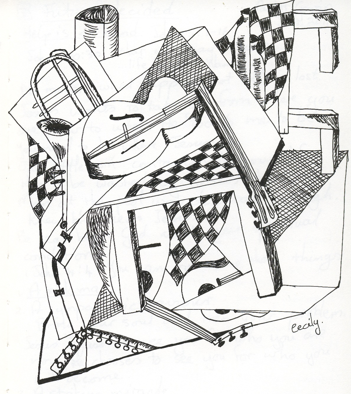 1189x1337 Pencil Sketch In Musical Instruments A Second Try At Cubism