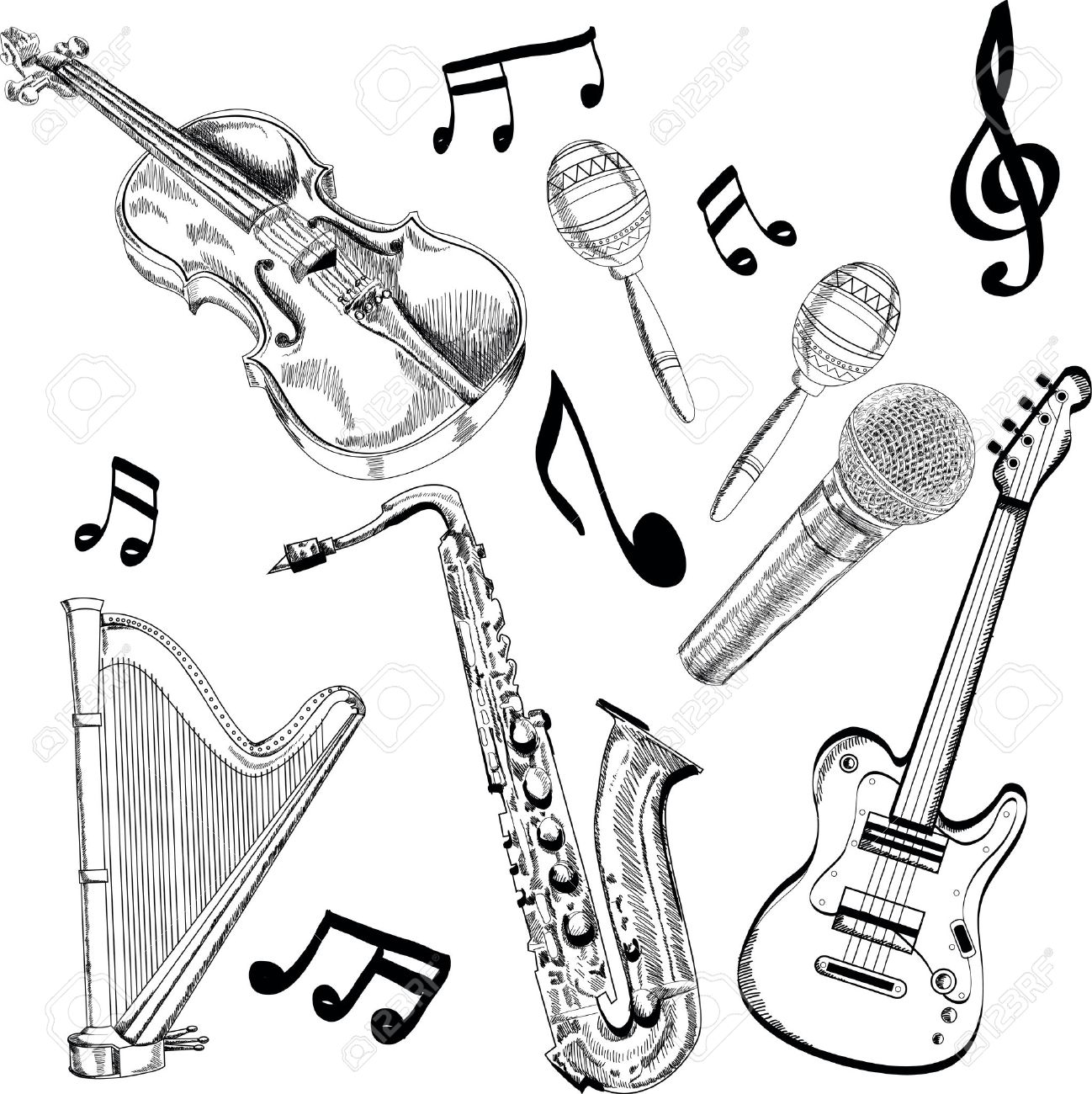 1298x1300 Set Of Music Instruments
