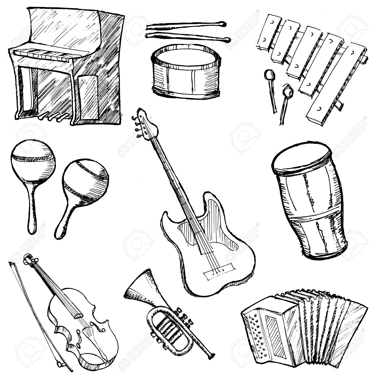 1300x1300 Set Of Sketch Illustration Of Musical Instruments Royalty Free