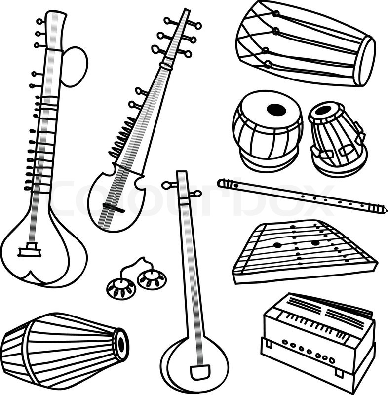 786x800 Vector set of isolated traditional indian instruments Stock