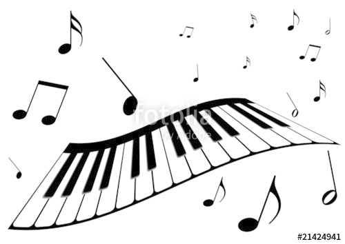 500x354 Illustration Of A Piano, Music Notes And Girl Singing Stock Image