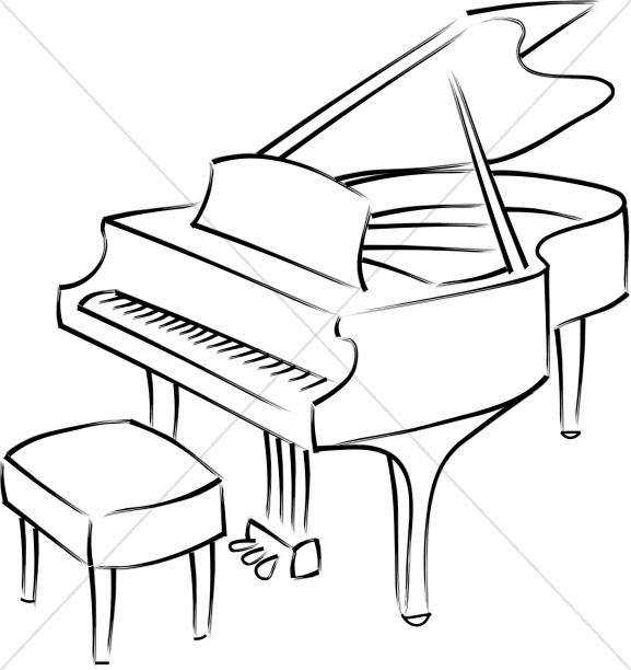 577x612 Baby Grand Piano Line Art Church Music Clipart