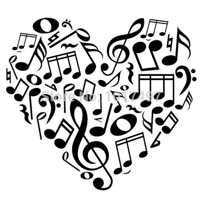 800x800 Heart Music Note Free Shipping 52x51cm New Design Creative Music