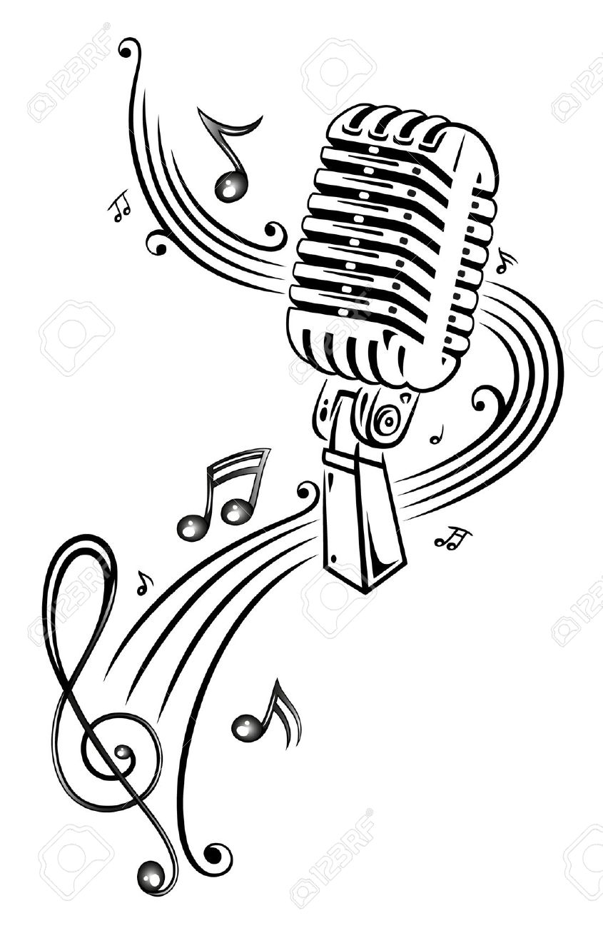 845x1300 Microphone With Music Notes Clipart