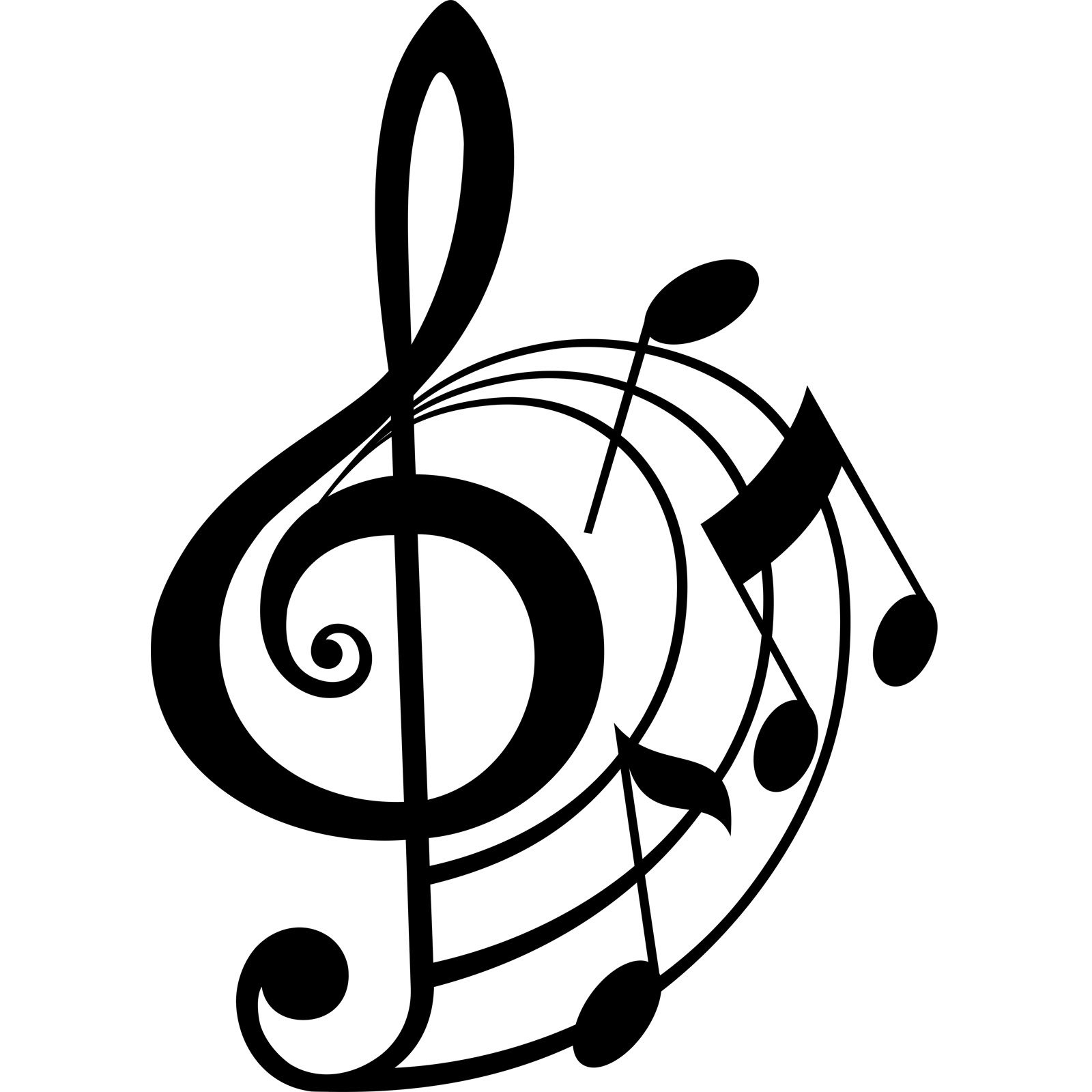 1600x1600 Treble Clef And Musical Notes Wall Sticker