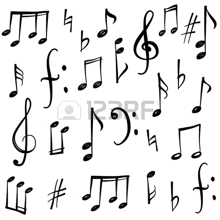 450x450 Music Notes And Signs Set. Hand Drawn Music Symbol Sketch