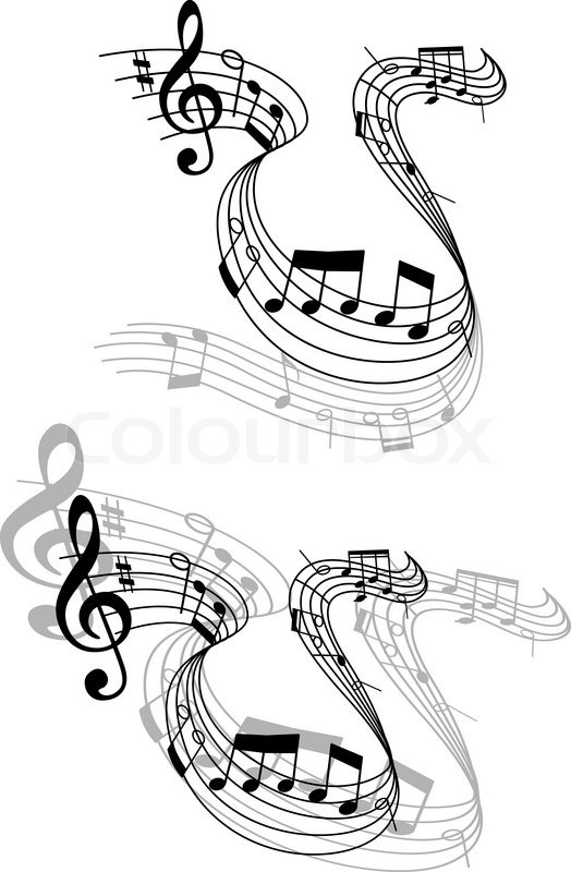 524x800 Two different grayscale designs of a swirling music score with