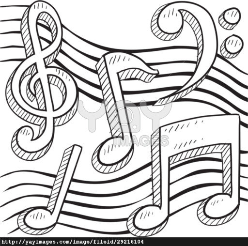 512x508 Doodle style musical notes border sketch in vector format poster