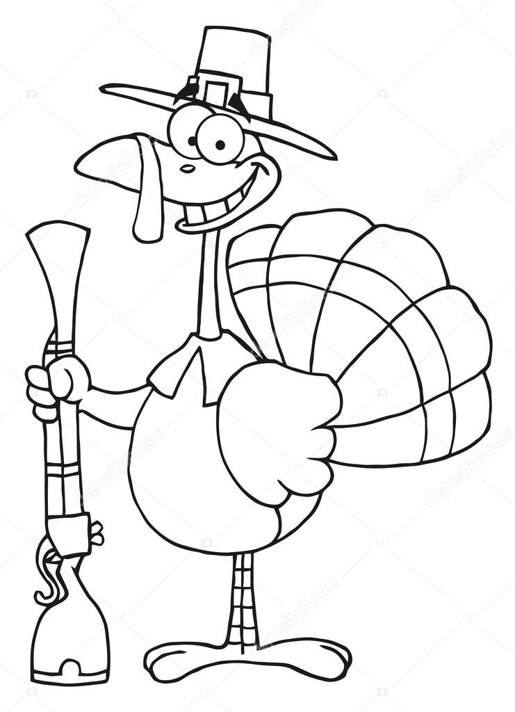 741x1024 Outlined Turkey With Pilgrim Hat And Musket Stock Photo