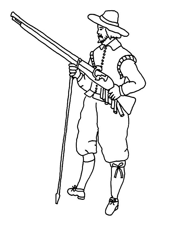 600x750 Pilgrim Hunter With Musket Hunting Animal Coloring Pages