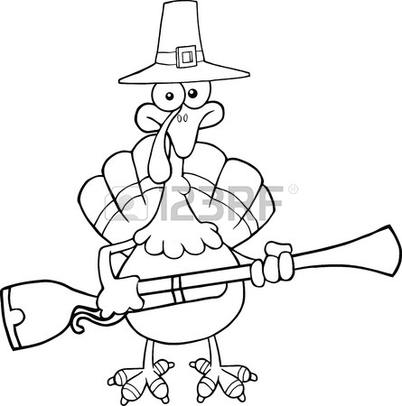 445x450 Blacknd White Pilgrim Turkey Bird Cartoon Character