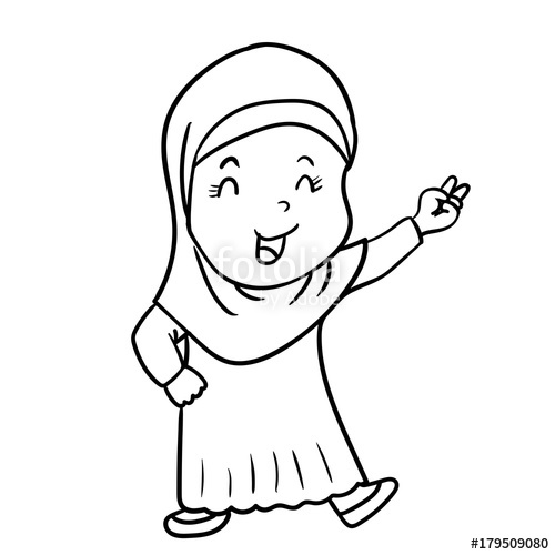 500x500 Hand Drawing Muslim Girl Cartoon With Victory Sign Vector
