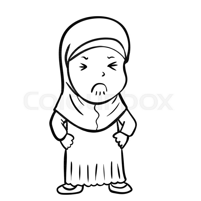 800x800 Hand Drawing Frustrated Muslim Girl Cartoon, Isolated On White