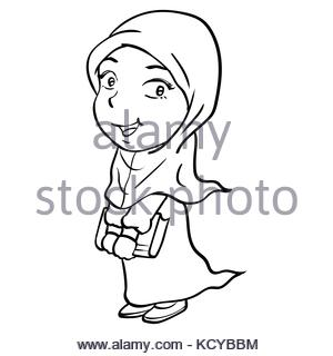 300x320 Hand Drawing Happy Muslim Girl Make Running. Pink Dress And Violet