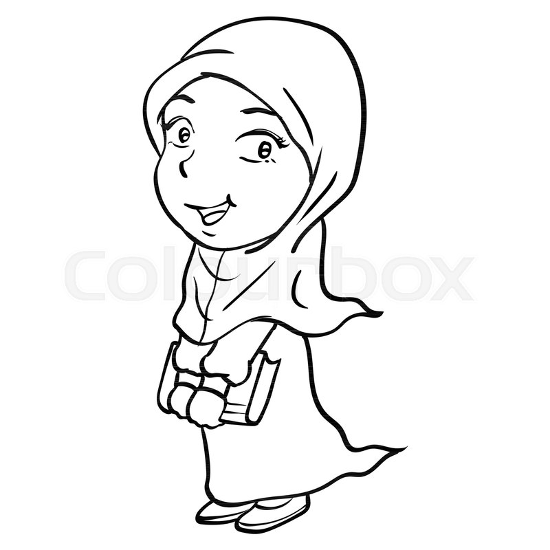 800x800 Hand Drawing Of Cartoon Smiley Muslim Girl Holding Book, Isolated