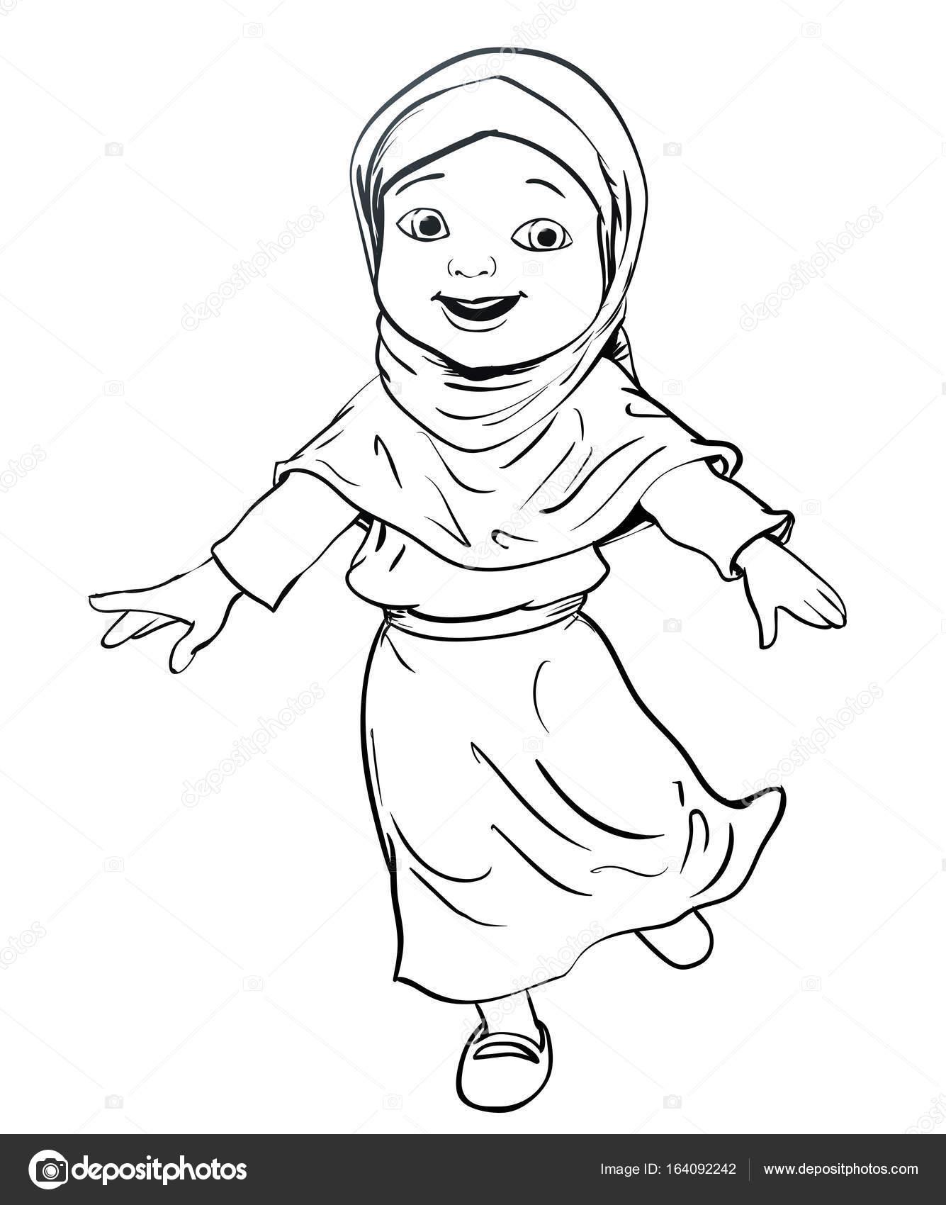 1335x1700 Hand Drawing Of Muslim Girl Make Running Vector Illustration