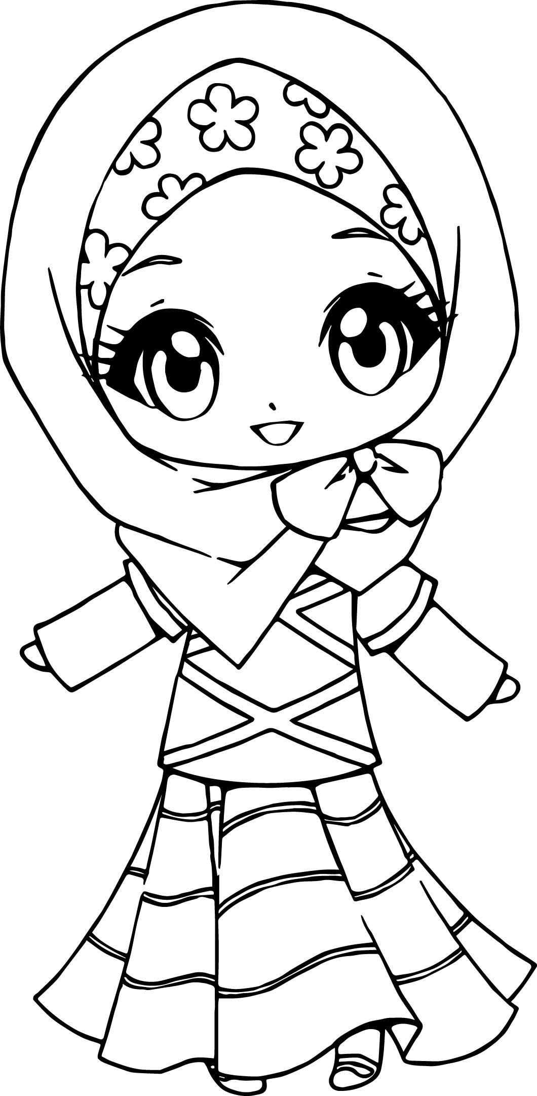 1060x2162 Muslim Anime Girl Coloring Page Wecoloringpage