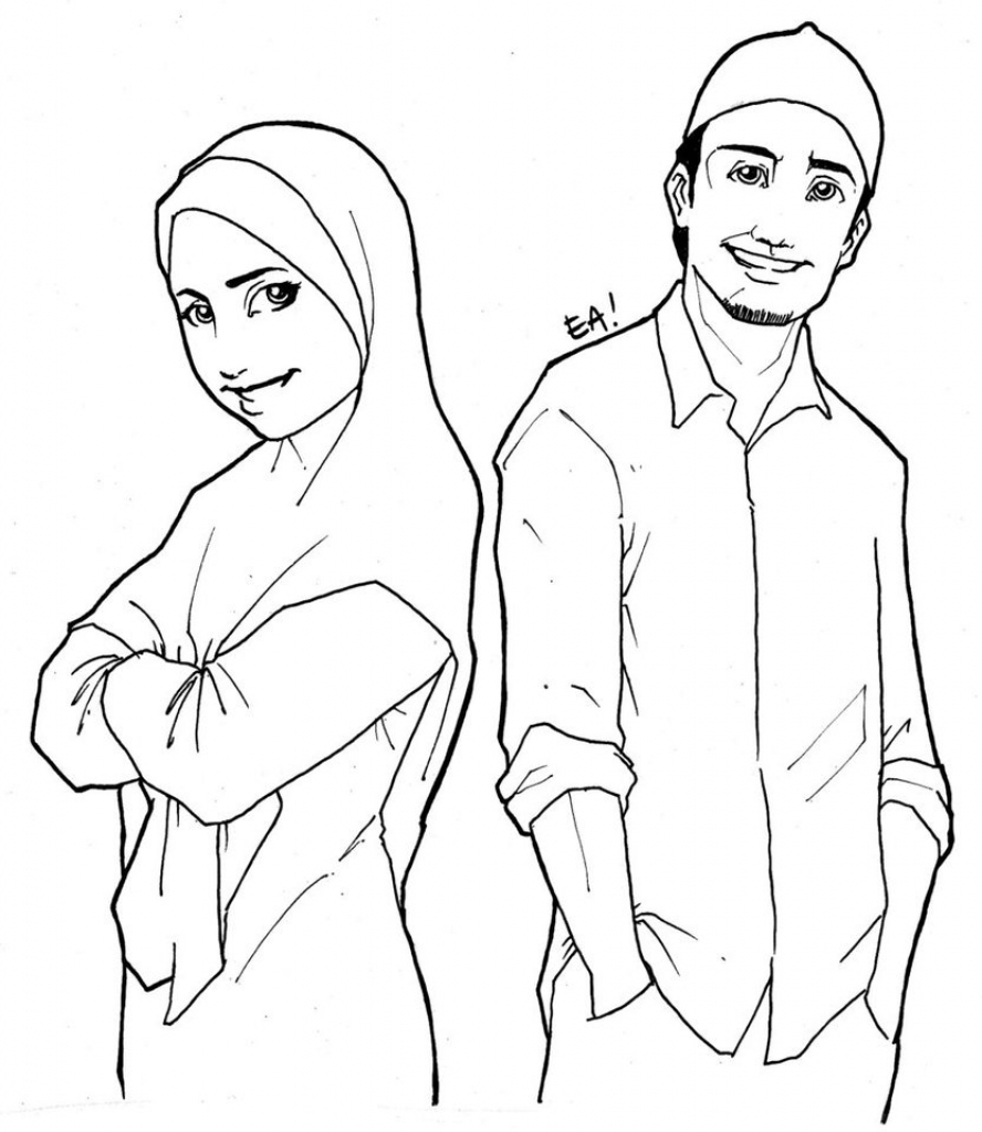 888x1024 Muslim Boy And Girl Sketch Cartoon Drawing Muslim
