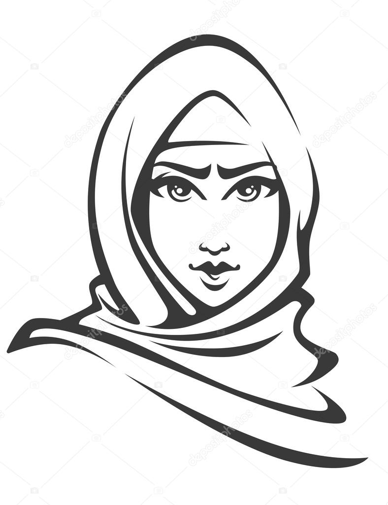 788x1024 Beautiful Face Of Arabic Muslim Woman Stock Vector