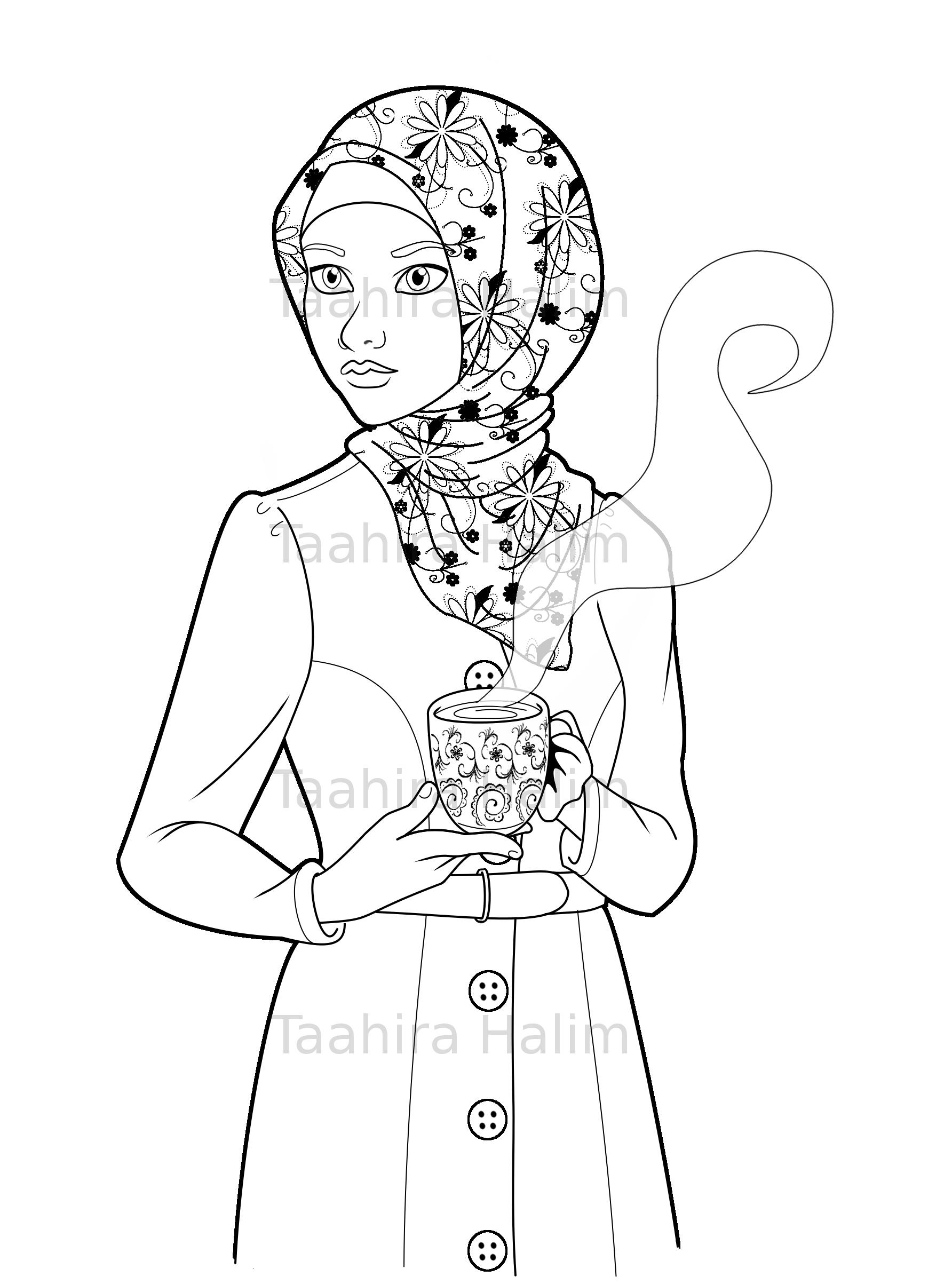 1784x2408 Muslim Hijabi Coloring Book Page Download