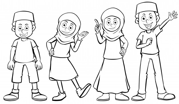 626x366 Muslim Boy And Girl With Happy Face Vector Free Download